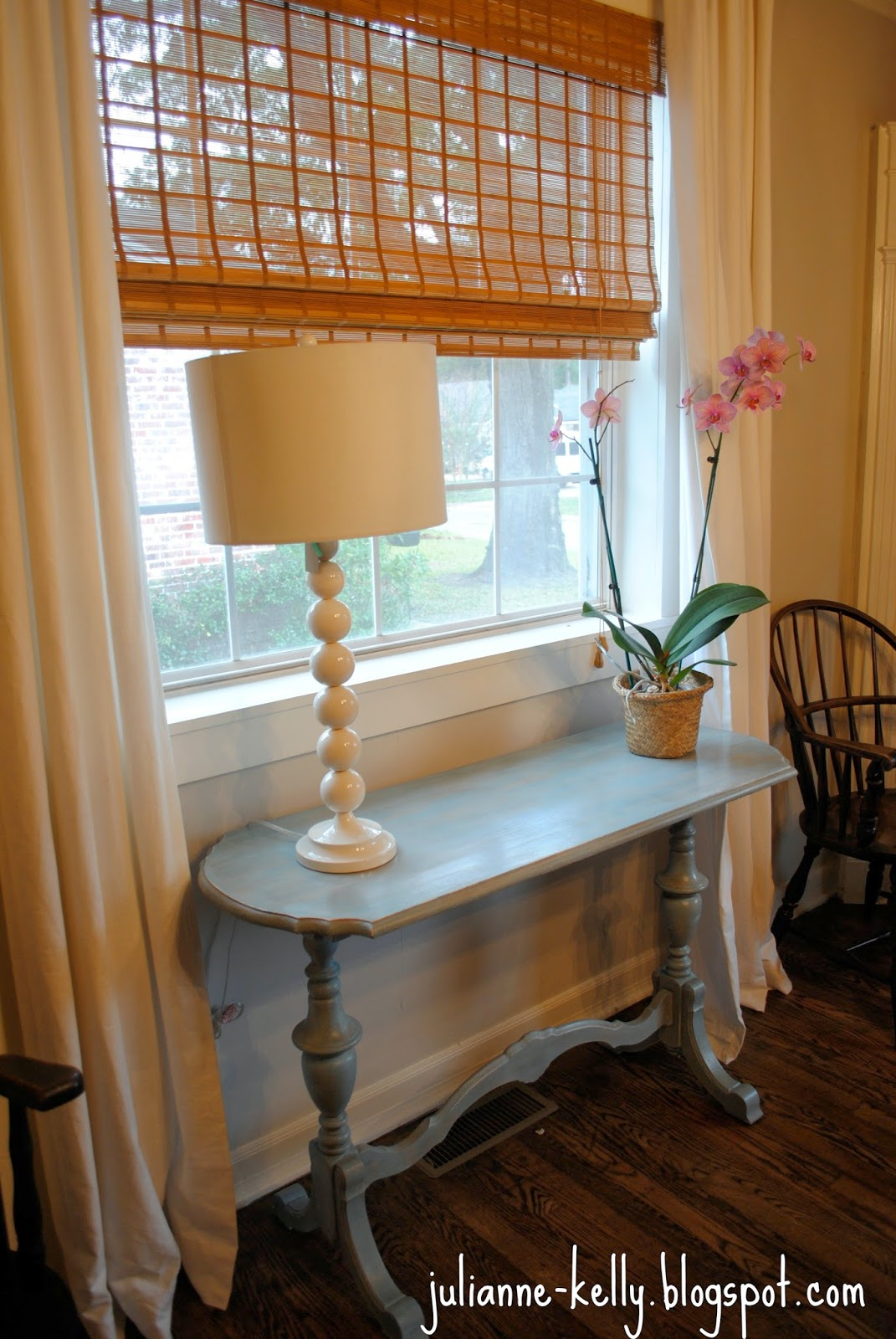 Jkelly blue sofa table makeover for Sofa table makeover