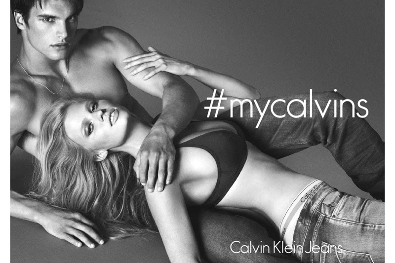 Lara Stone bares skin for the Calvin Klein Jeans Fall 2014 Campaign