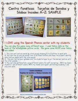 http://www.teacherspayteachers.com/Product/FREE-Sample-Inicial-soundsyllable-Phonics-Center-in-Spanish-1322004
