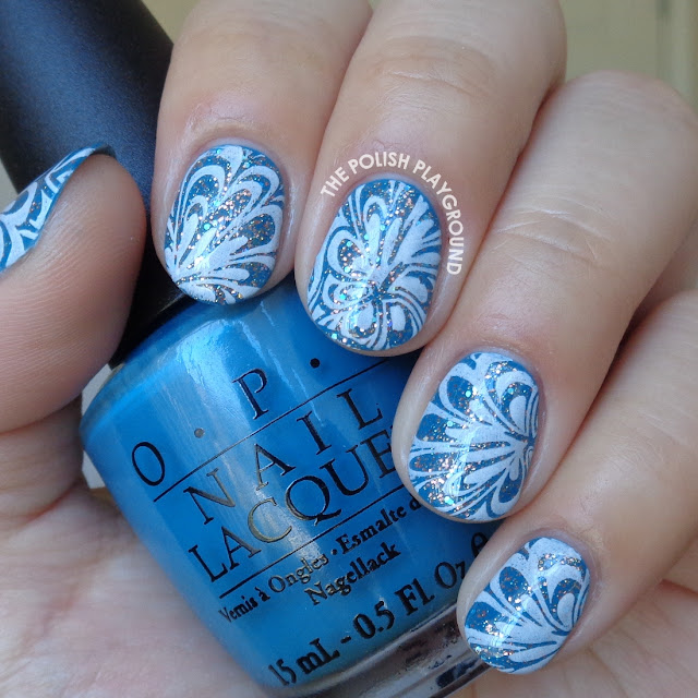 Glittery Blue and White Water Marble Stamping Nail Art