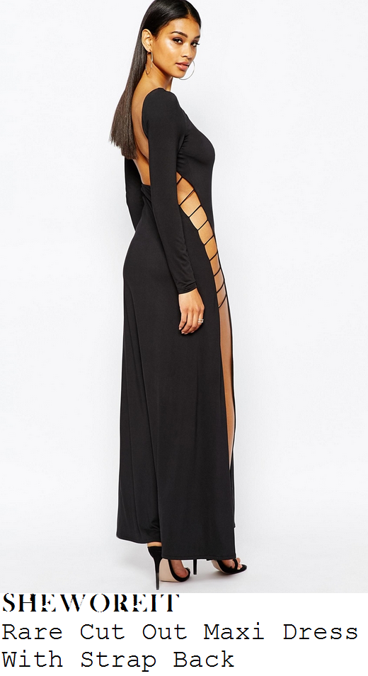 leigh-anne-pinnock-black-open-ladder-detail-long-sleeve-side-split-maxi-dress