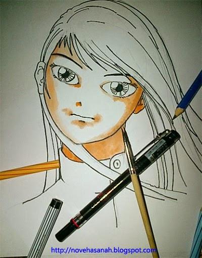 selanjutnya mulailah mewarnai karakter anime dari bagian kulit wajah terlebih dahulu