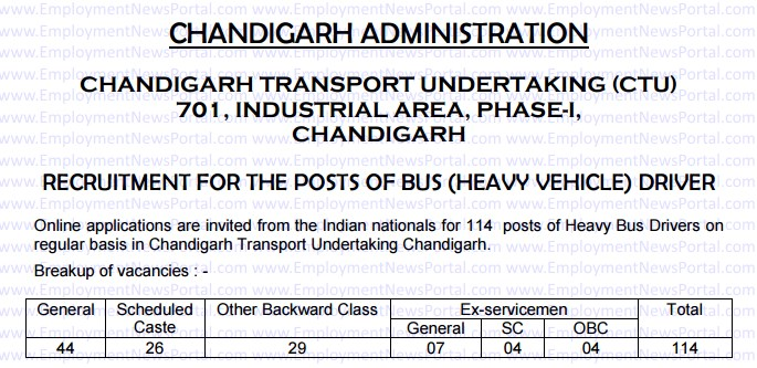 CTU advertisement, Recruitment 2015, www.chdctu.gov.in, Chandigarh Transport Undertaking, employment news portal