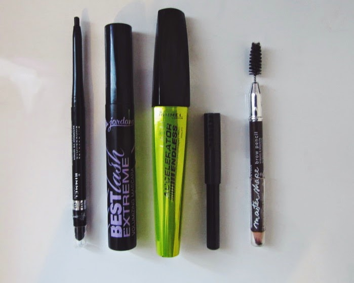 Rimmel Exaggerate Eye Definer, Rimell Last Accelerator Endless Mascara, Jordana Best Lash Extreme Volumizing Mascara, Rimmel Eyebrow Pencil