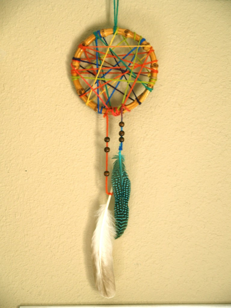 Diy colorful dreamcatcher munchkins and mayhem for How to make a dreamcatcher with pictures