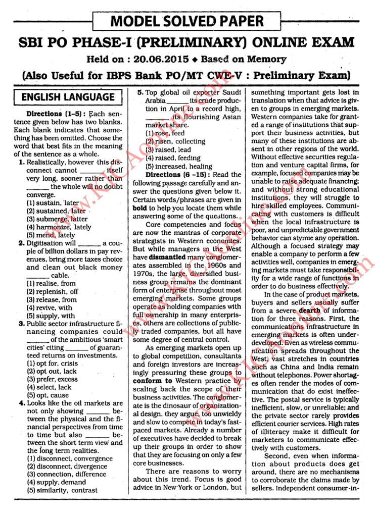 Pdf paper sbi pre exam po 2015