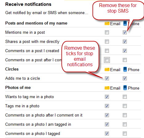 Stop Google+ E-mail and SMS Notifications
