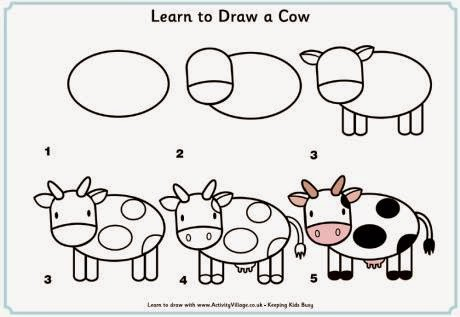 Learn to draw a cow for kids