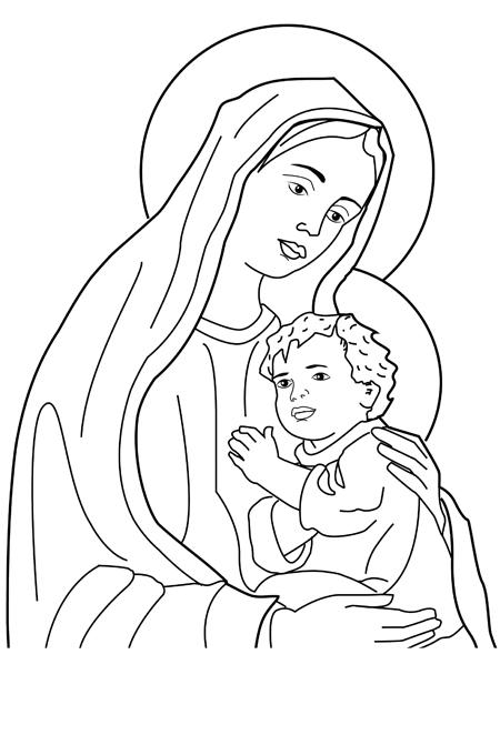 صورة العذراء مريم وهي تحمل يوسف لتلوين الاطفال