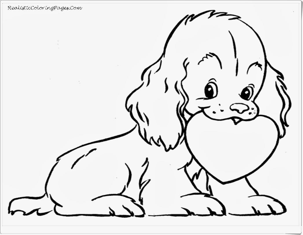 Cute Dog With Love Animal Coloring Pages For Valentine Day