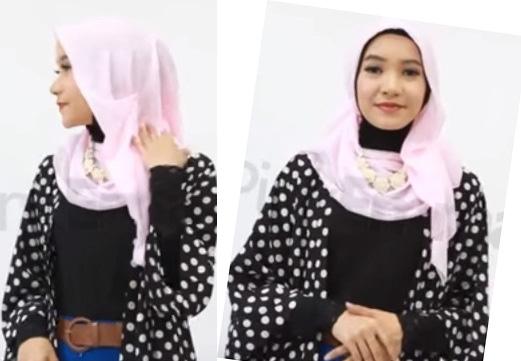 tutorial cara pakai jilbab segiempat