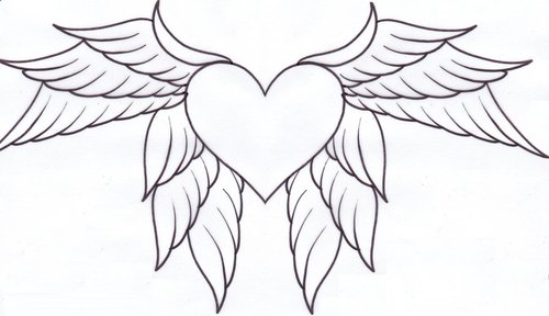 7 Hearts with Wings Coloring Pages