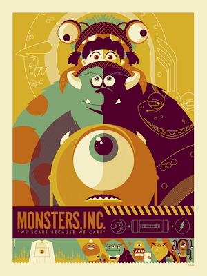 Mondo Pixar Screen Print Series - Monsters, Inc. Screen Print by Tom Whalen