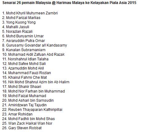 Senarai 26 pemain yang dipanggil untuk skuad Harimau Malaya terkini