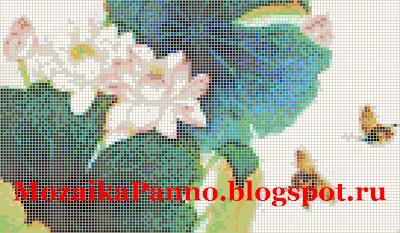 Картина из стеклянной мозаики  «Лотос с бабочками»