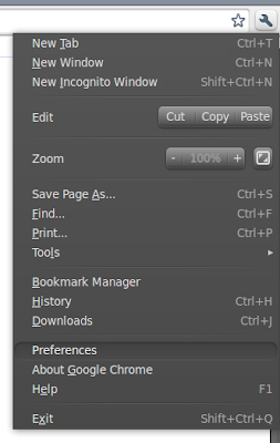 google chrome settings menu