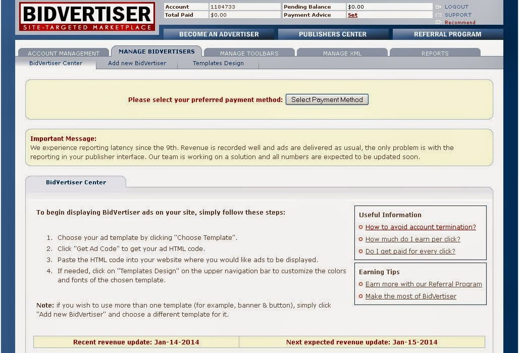 Kiếm tiền trên mạng: Đăng quảng cáo Bidvertiser trên website
