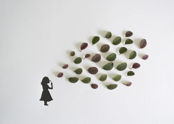 Tang Chiew Ling illustrations design fashion lyrical leaf leaves nature Little girl making bubbles