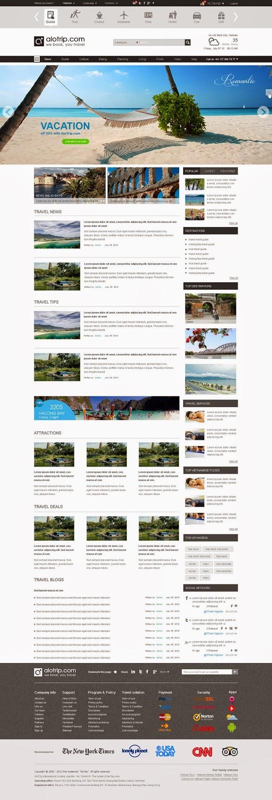 thiết kế website du lịch alotrip