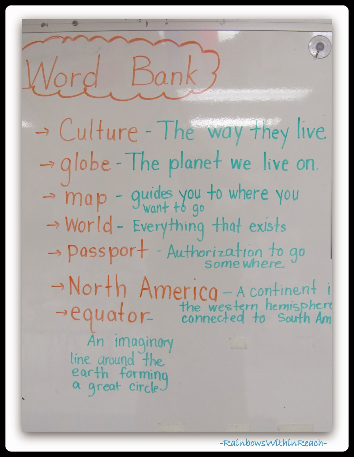 """Word Bank"" for Vocabulary Words with Definitions via RainbowsWithinReach"