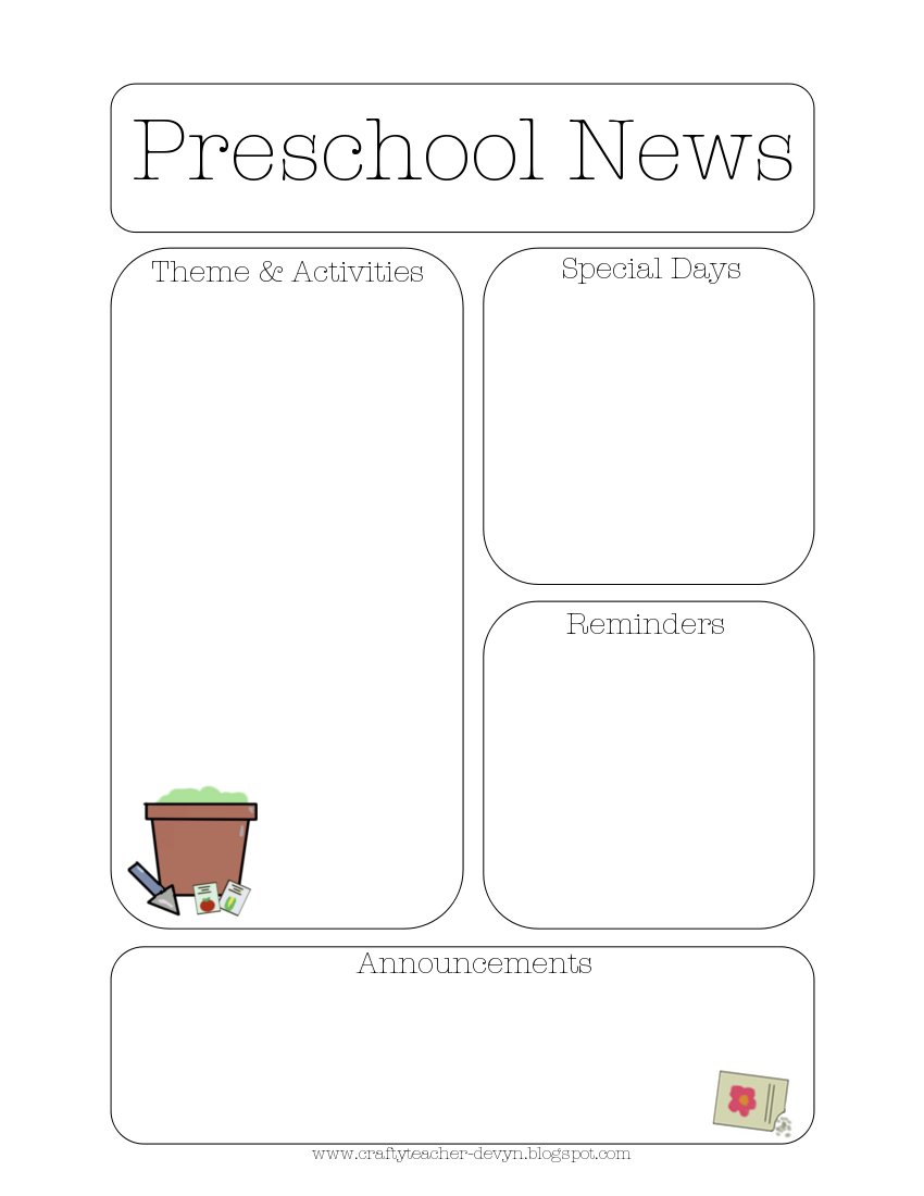 Garden Theme Newsletter Template The Crafty Teacher - Free newsletter templates for teachers