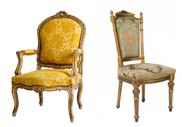 Edwardian wedding chairs gold Downton Abbey
