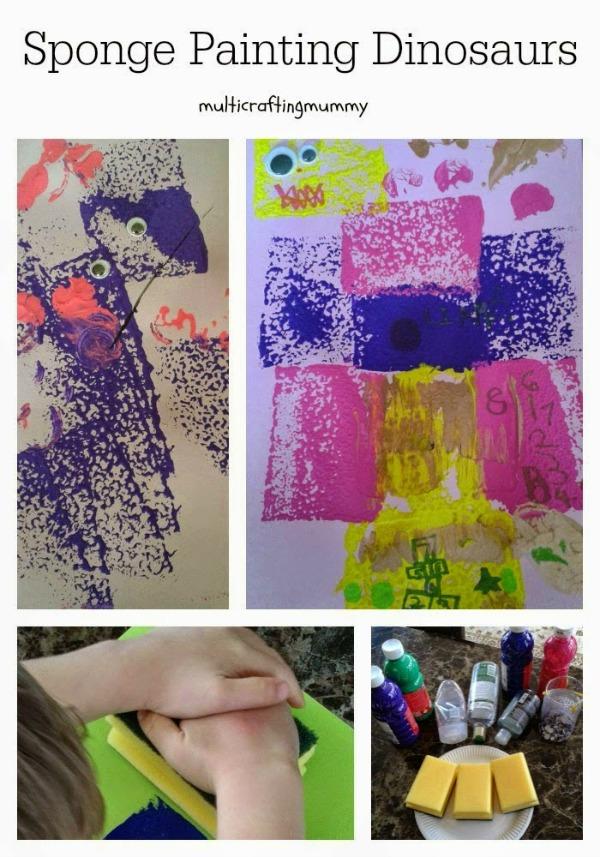 dinosaur kids sponge painting activity