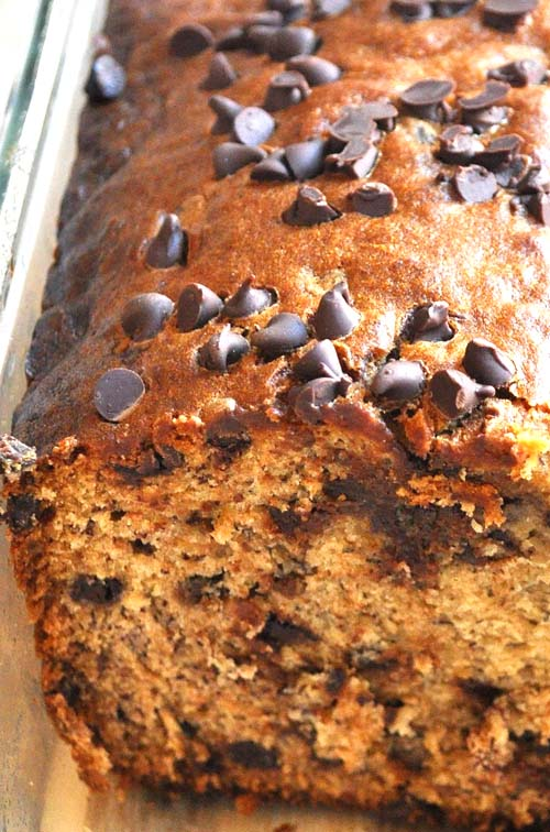Banana Chocolate Chip Bread. Canola oil can be used instead of butter for a healthier and lighter recipe.