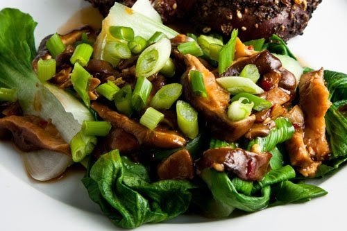 Bok Choy with Sautéed Mushrooms and Shallots Recipe