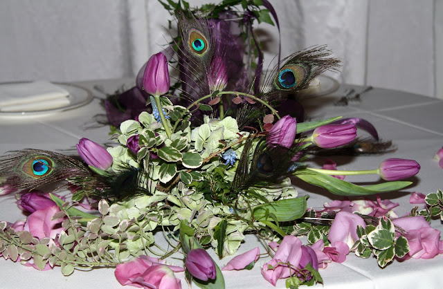 Ostrich Feather and Tulip Table Centerpeice - Splendid Stems Floral Designs