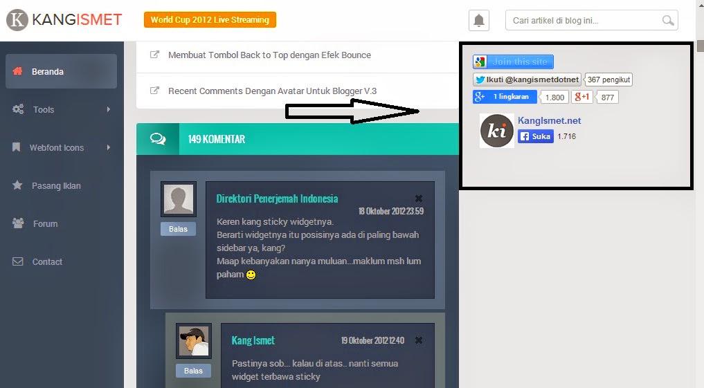 Cara Mudah Membuat Widget Sticky di Sidebar Blogger Anda