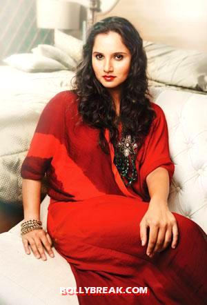 Sania posing in a bold red outfit -  Sania Mirza&#39;s Verve India - Aug 2012 photo shoot