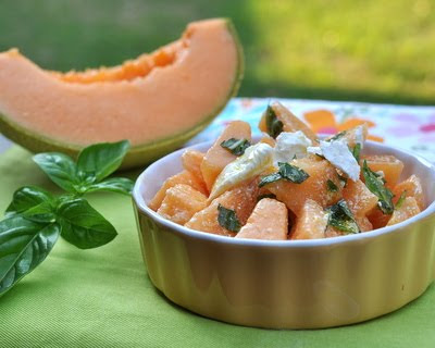 Cantaloupe Salad with Feta & Basil ♥ KitchenParade.com, sweet summer melon in an almost-savory salad, just five ingredients. Make it for lunch, make it dessert. Low Carb. WW2.