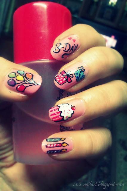 Birthday nail art - Nail Art Designs: Birthday Nail Art