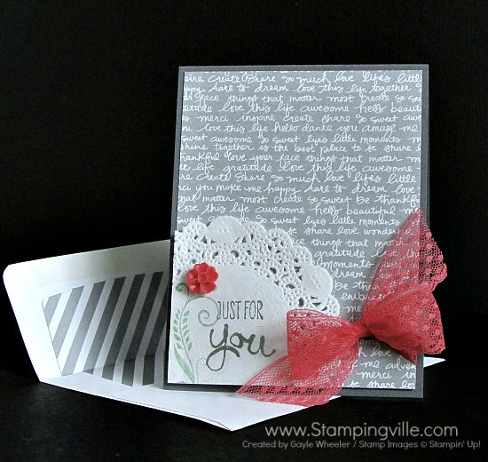 Feminine all-occasion card with script metallic background paper, paper doily, heat embossing, delicate lace trim, and blossom embellishment.