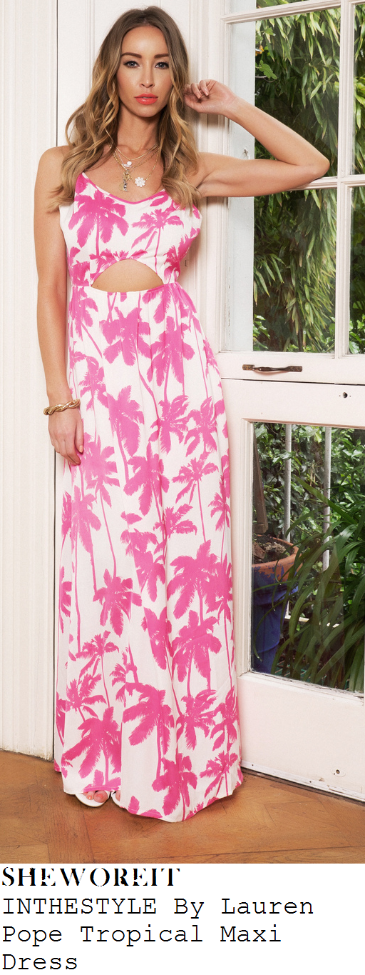lauren-pope-bright-pink-and-white-palm-print-tropical-print-sleeveless-maxi-dress