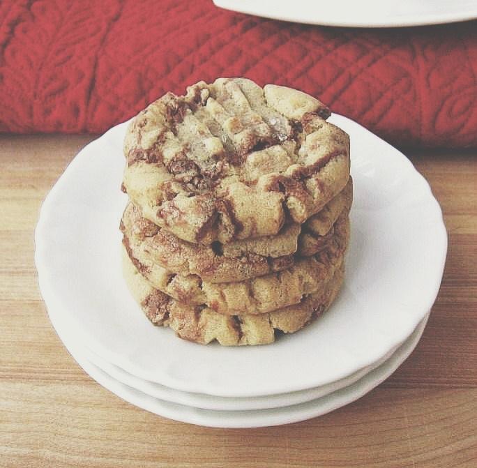 Peanut Butter + Nutella Swirl Cookies