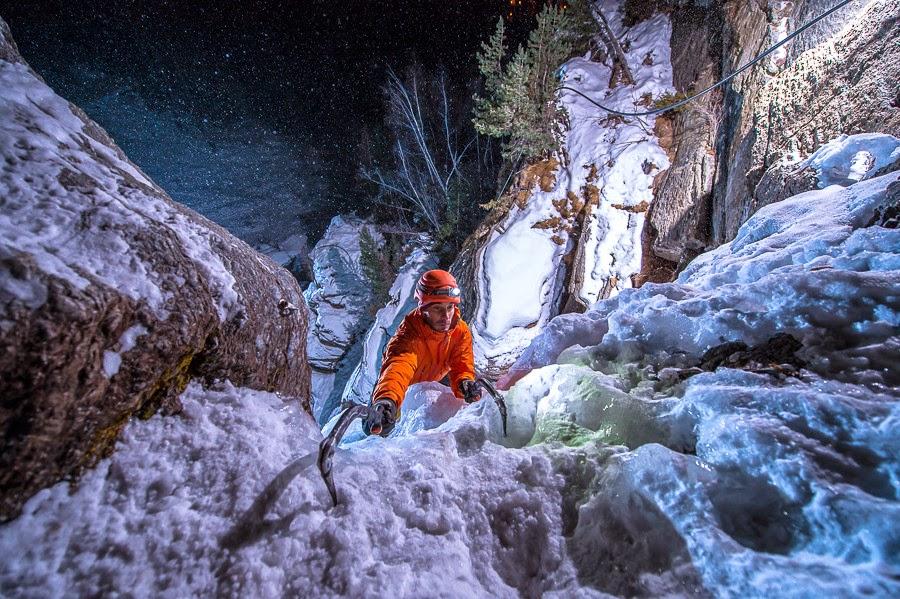 Jeff Mercier, professional ice climber in Lillaz
