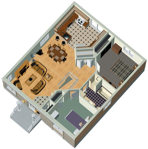 Two Bedrooms 85m2 House Plan 3d Home on 2 bedroom bath open floor plans