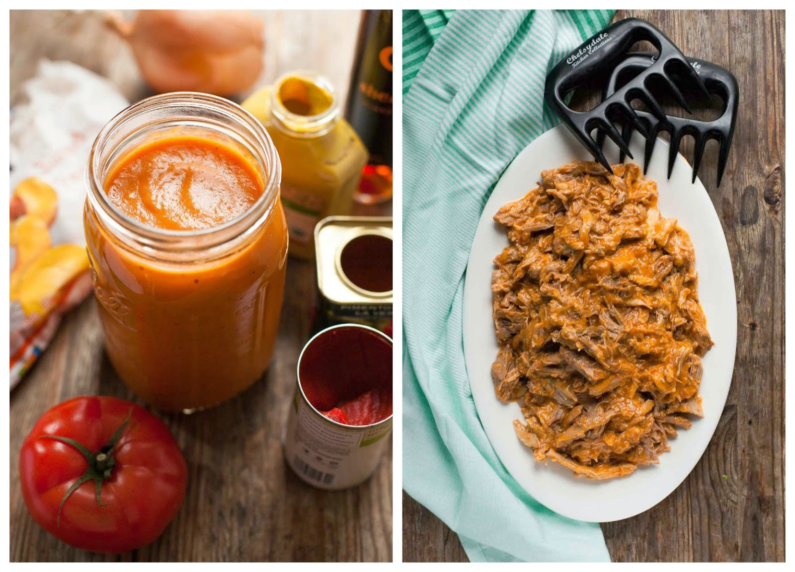 Slow-Cooker Pulled Pork with Peach Barbecue Sauce | acalculatedwhisk.com
