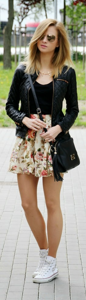 Floral Print Skirt with Leather Moto and White Sneakers | Street Outfits
