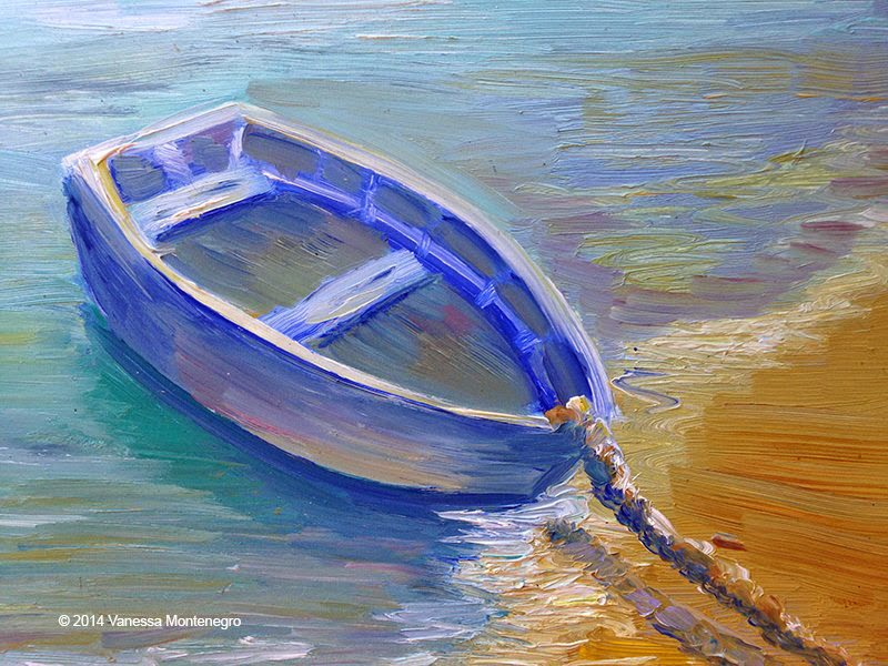 Oil on wood painting of a boat