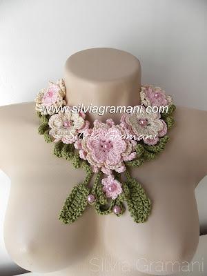 colar de crochê, flores de croche, croche