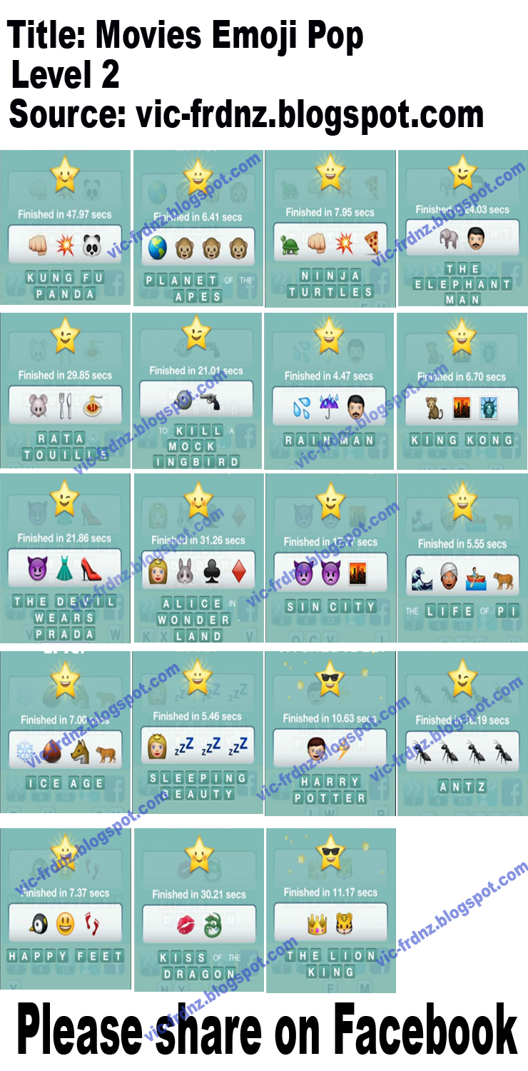 Emoji Pop Answers Level 4