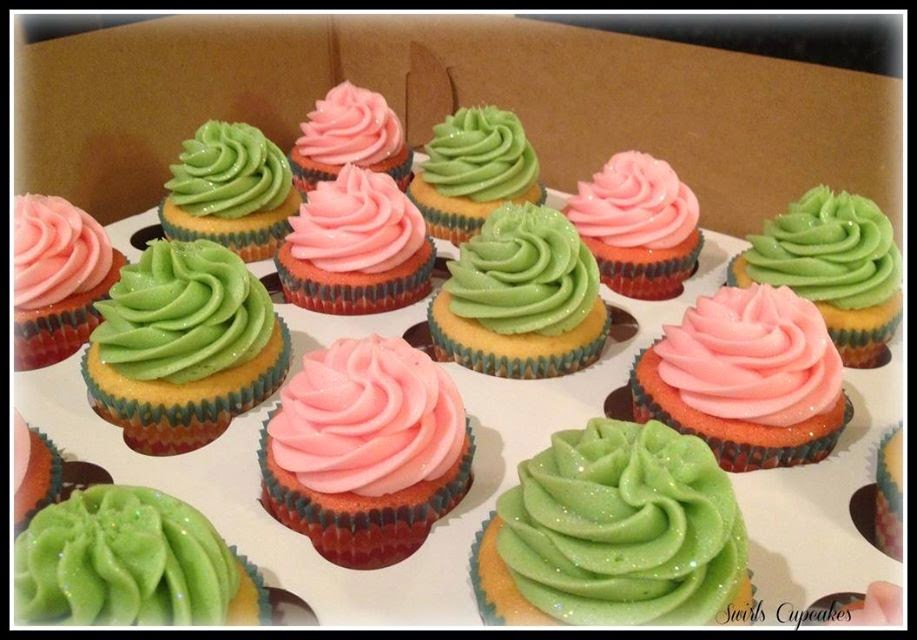 Hot pink and green cupcakes