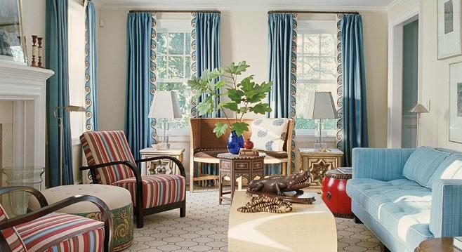 rideau salon moderne en bleu