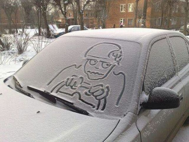 Art on a Car in Snow