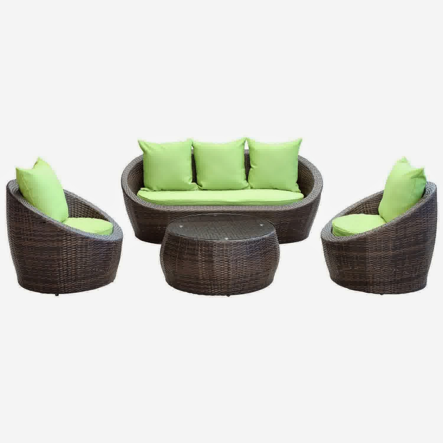 avo outdoor wicker patio 4 piece sofa set in brown with green cushions