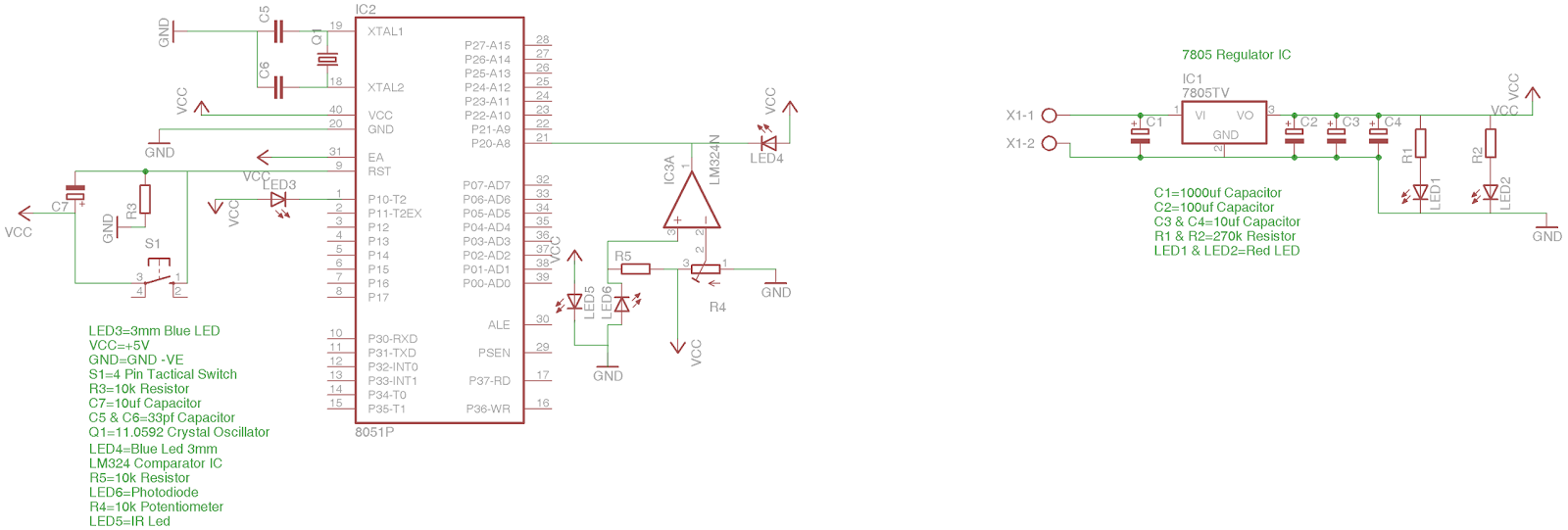 Interfacing LM324 Comparator IC with IR(Infra Red Light) Sensor and 8051 Microcontroller on Bread Board - Circuit Diagram