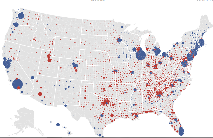 Common Cents Maps Of US Presidential Election Results By County - Election map showing all us counties